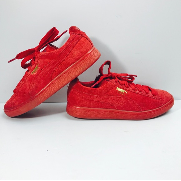 a0a200ad Puma Classics Red Suede Low Top Shoes Women's 6